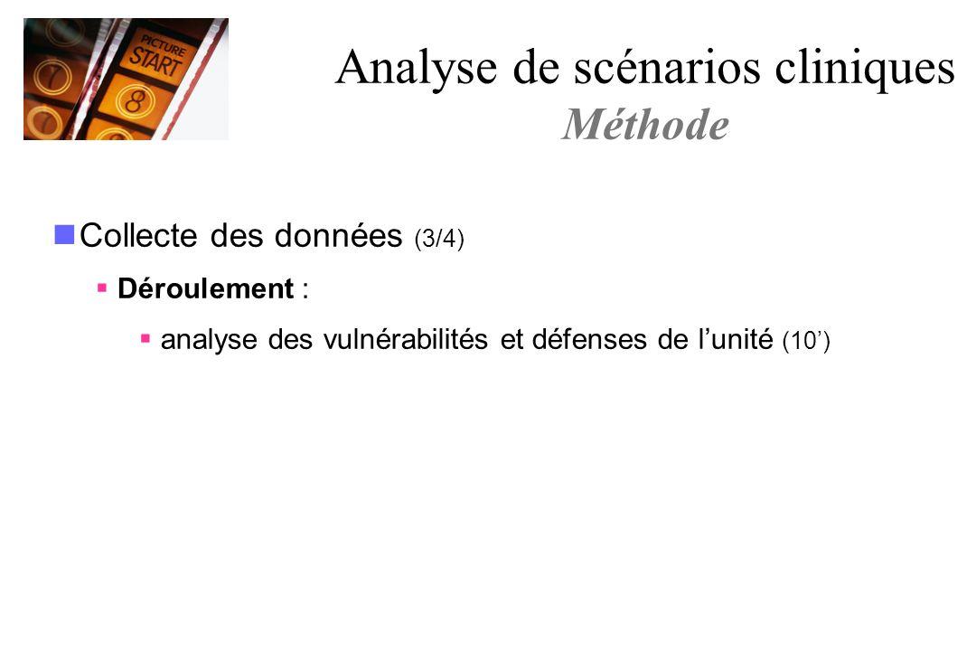 Collecte des données (3/4) Déroulement : analyse des vulnérabilités et défenses de lunité (10) Analyse de scénarios cliniques Méthode