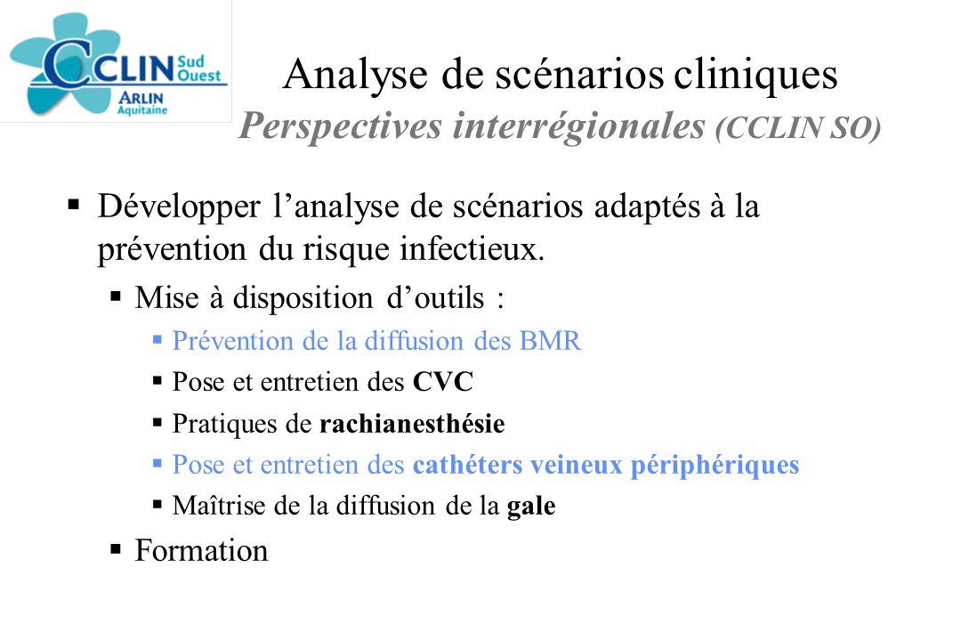 Analyse de scénarios cliniques Perspectives interrégionales (CCLIN SO) Développer lanalyse de scénarios adaptés à la prévention du risque infectieux.