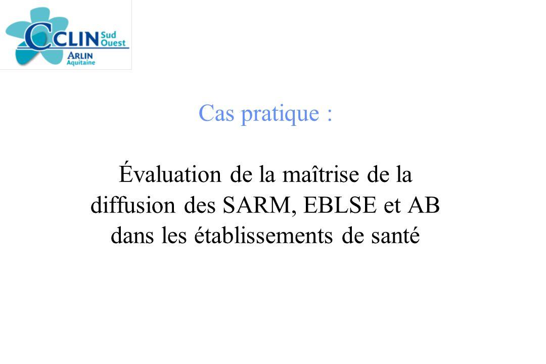 Cas pratique : Évaluation de la maîtrise de la diffusion des SARM, EBLSE et AB dans les établissements de santé