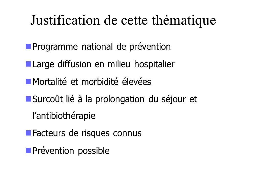 Justification de cette thématique Programme national de prévention Large diffusion en milieu hospitalier Mortalité et morbidité élevées Surcoût lié à