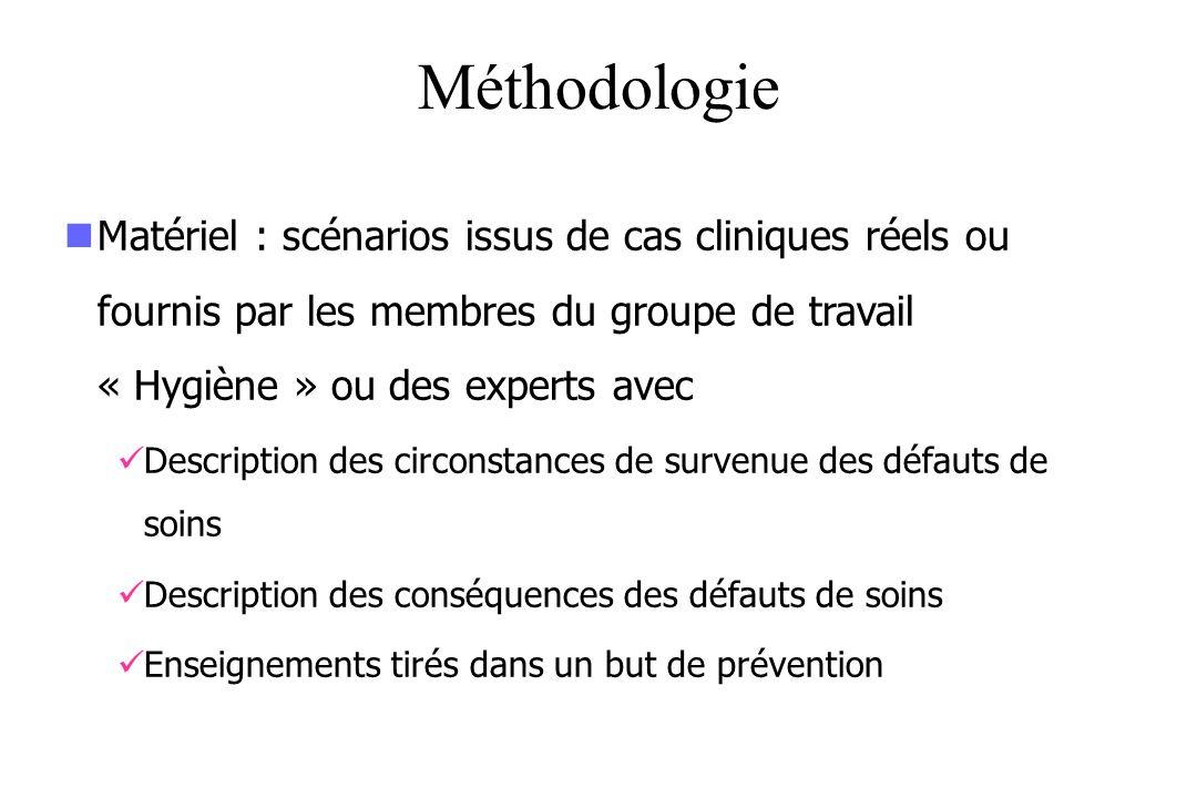 Méthodologie Matériel : scénarios issus de cas cliniques réels ou fournis par les membres du groupe de travail « Hygiène » ou des experts avec Descrip