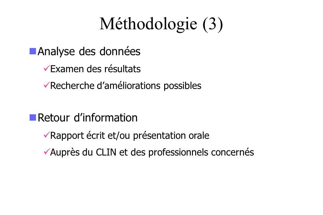 Méthodologie (3) Analyse des données Examen des résultats Recherche daméliorations possibles Retour dinformation Rapport écrit et/ou présentation oral