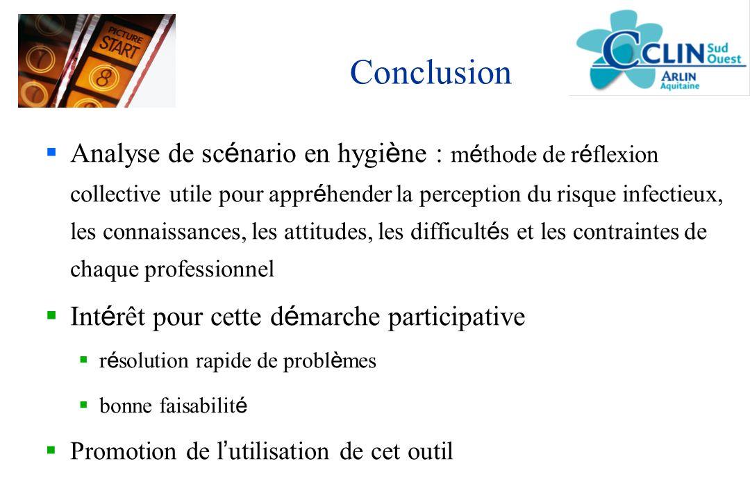 Conclusion Analyse de sc é nario en hygi è ne : m é thode de r é flexion collective utile pour appr é hender la perception du risque infectieux, les c