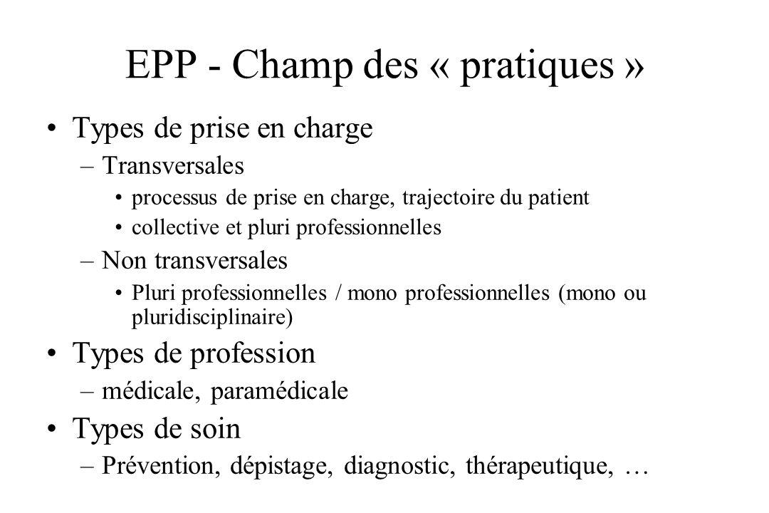 EPP - Champ des « pratiques » Types de prise en charge –Transversales processus de prise en charge, trajectoire du patient collective et pluri profess