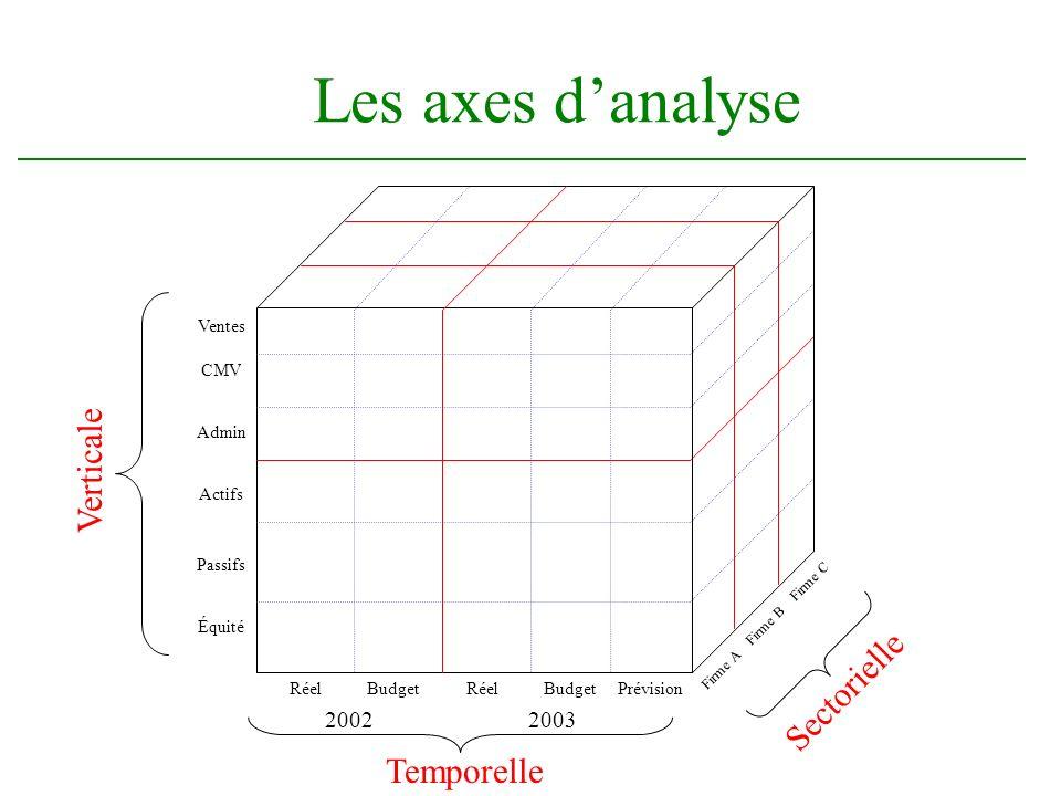 Les axes danalyse Temporelle 2002 RéelBudget 2003 RéelBudgetPrévision Verticale Ventes CMV Admin Actifs Passifs Équité Sectorielle Firme A Firme B Fir