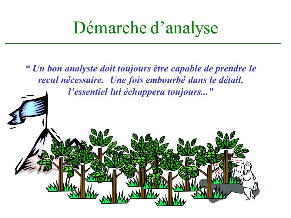 Démarche danalyse Un bon analyste doit toujours être capable de prendre le recul nécessaire. Une fois embourbé dans le détail, lessentiel lui échapper