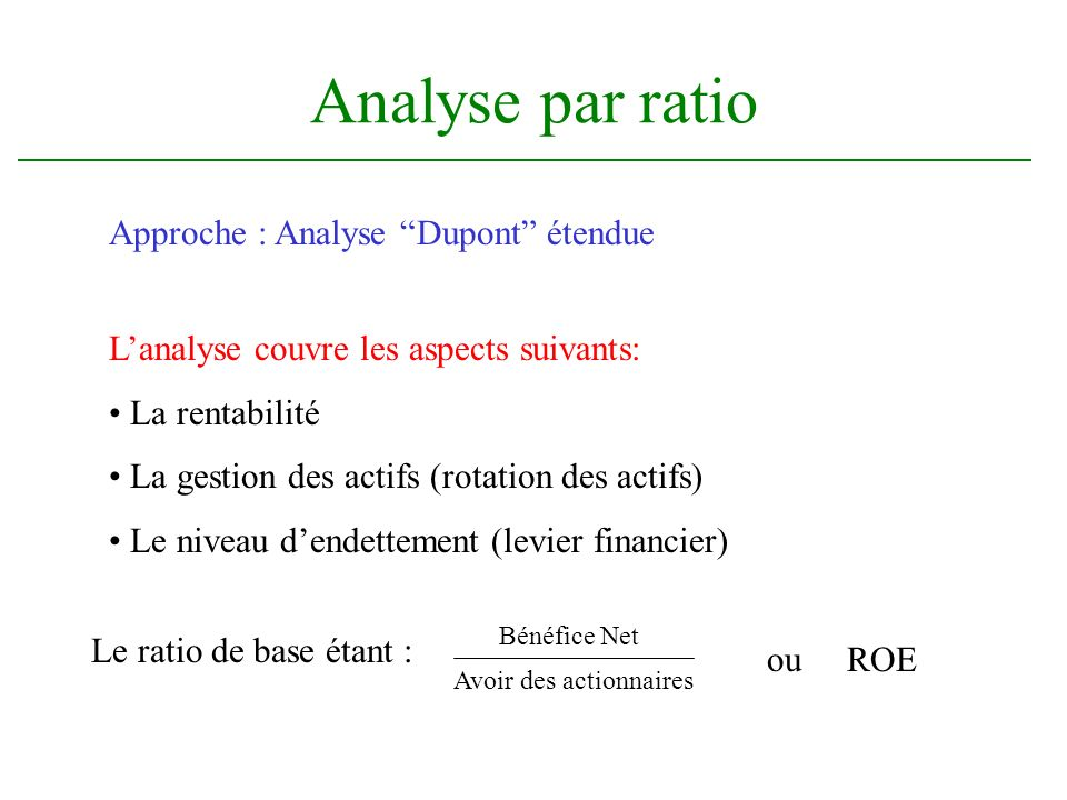 Analyse par ratio Approche : Analyse Dupont étendue Lanalyse couvre les aspects suivants: La rentabilité La gestion des actifs (rotation des actifs) Le niveau dendettement (levier financier) Le ratio de base étant : Bénéfice Net Avoir des actionnaires ou ROE