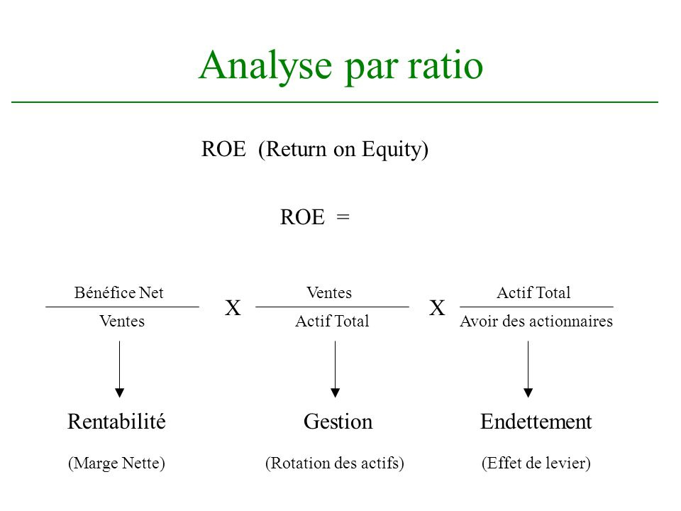 Analyse par ratio ROE (Return on Equity) Bénéfice Net Ventes Actif Total X Avoir des actionnaires X RentabilitéGestionEndettement (Marge Nette)(Rotati