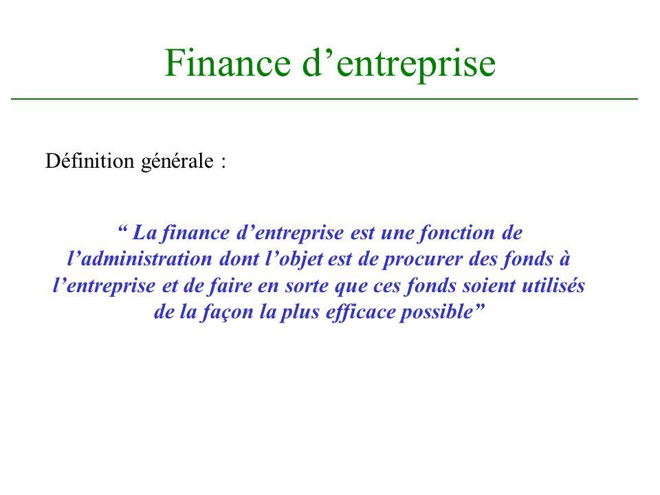 Définition générale : Finance dentreprise La finance dentreprise est une fonction de ladministration dont lobjet est de procurer des fonds à lentrepri