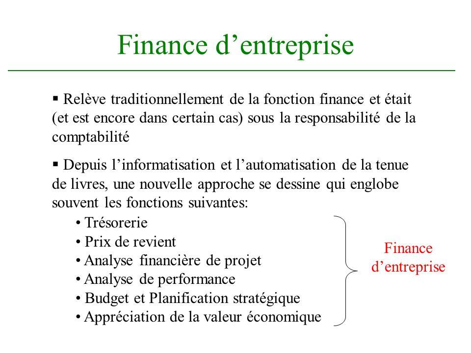 Finance dentreprise Relève traditionnellement de la fonction finance et était (et est encore dans certain cas) sous la responsabilité de la comptabili