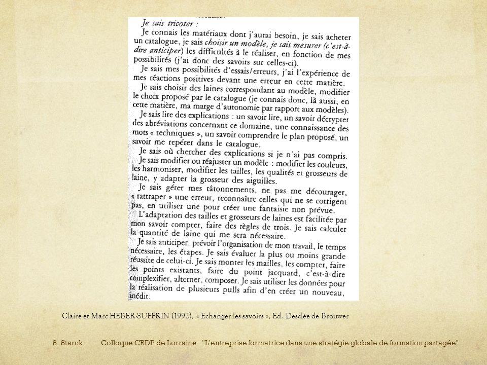 Claire et Marc HEBER-SUFFRIN (1992), « Echanger les savoirs », Ed. Desclée de Brouwer