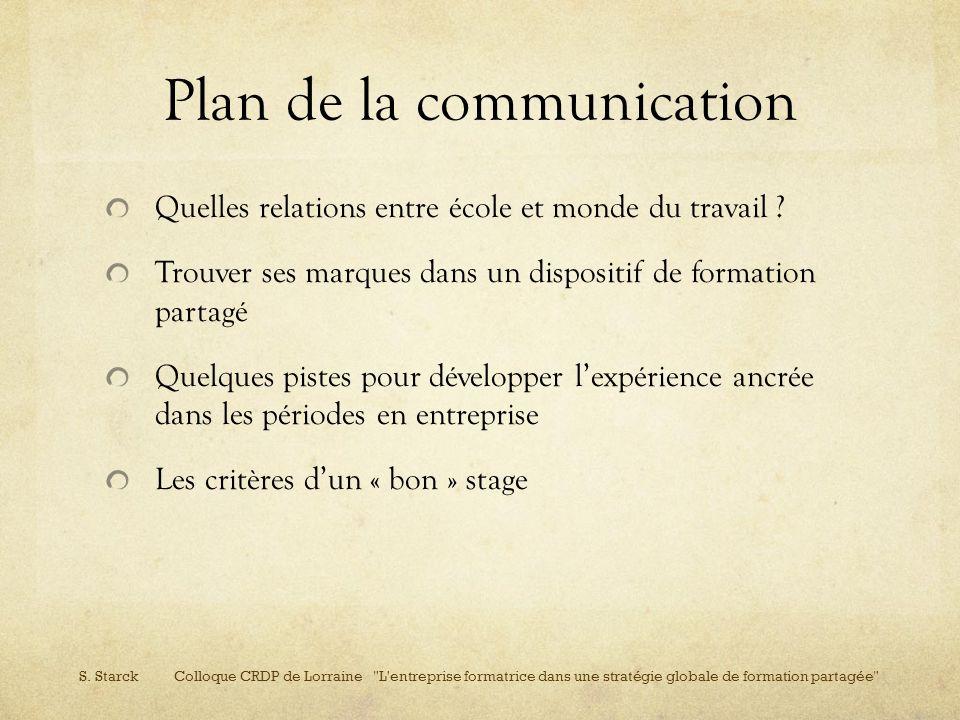 Plan de la communication Quelles relations entre école et monde du travail ? Trouver ses marques dans un dispositif de formation partagé Quelques pist