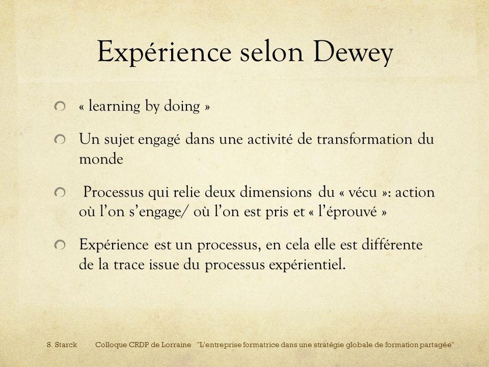 Expérience selon Dewey « learning by doing » Un sujet engagé dans une activité de transformation du monde Processus qui relie deux dimensions du « véc