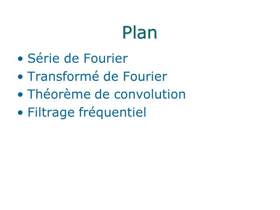 Plan Série de Fourier Transformé de Fourier Théorème de convolution Filtrage fréquentiel