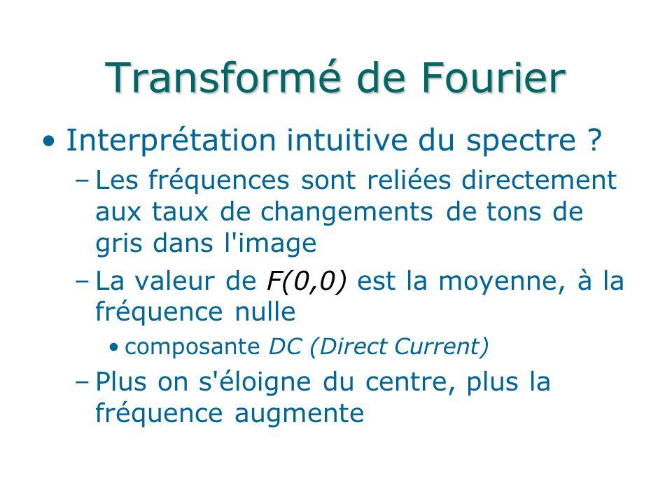 Transformé de Fourier Interprétation intuitive du spectre ? –Les fréquences sont reliées directement aux taux de changements de tons de gris dans l'im