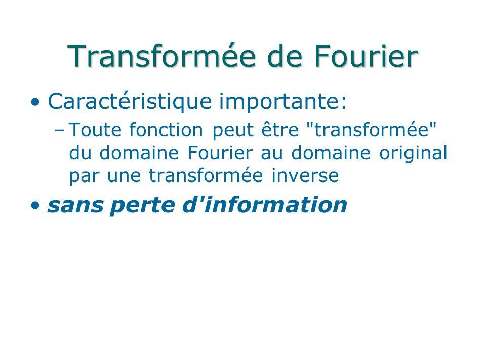 Caractéristique importante: –Toute fonction peut être transformée du domaine Fourier au domaine original par une transformée inverse sans perte d information