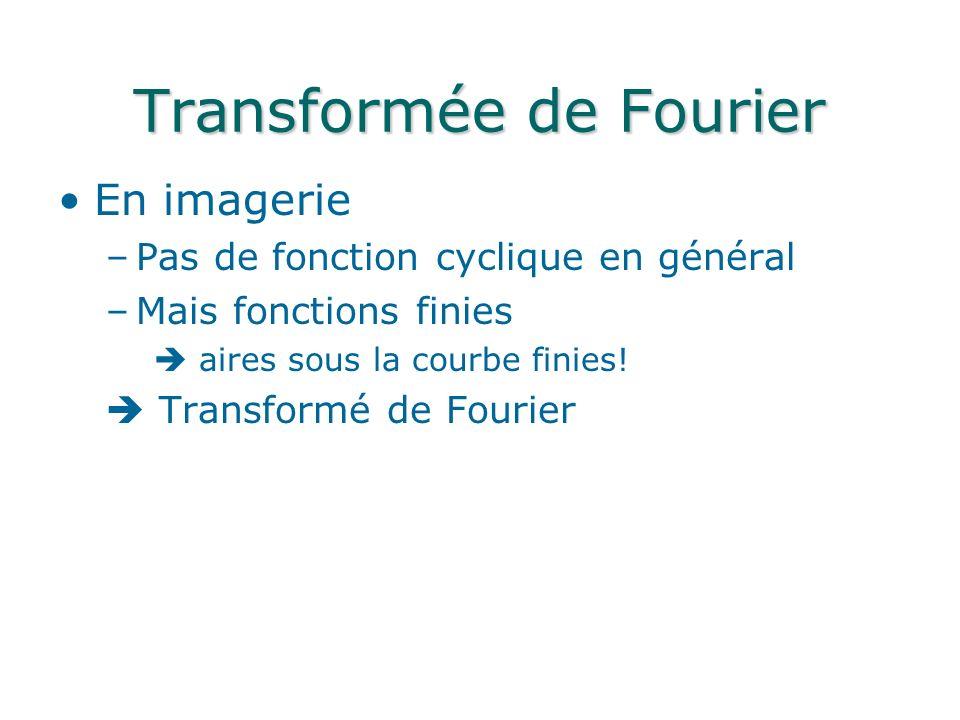 Transformée de Fourier En imagerie –Pas de fonction cyclique en général –Mais fonctions finies aires sous la courbe finies.