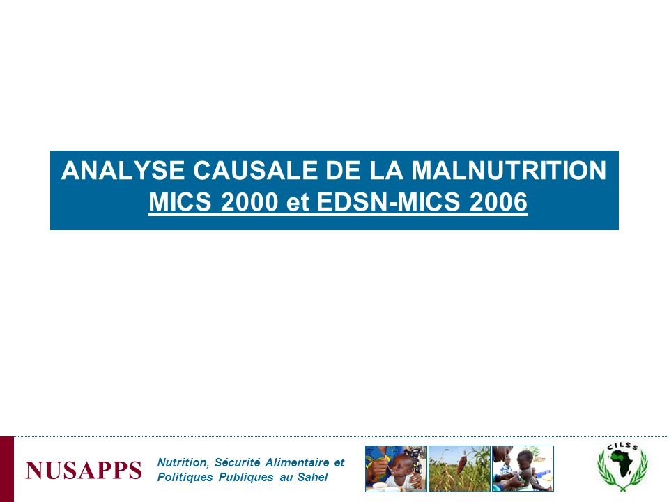Nutrition, Sécurité Alimentaire et Politiques Publiques au Sahel NUSAPPS ANALYSE CAUSALE DE LA MALNUTRITION MICS 2000 et EDSN-MICS 2006