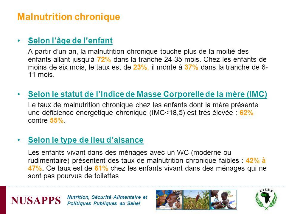 Nutrition, Sécurité Alimentaire et Politiques Publiques au Sahel NUSAPPS Malnutrition chronique Selon lâge de lenfant A partir dun an, la malnutrition