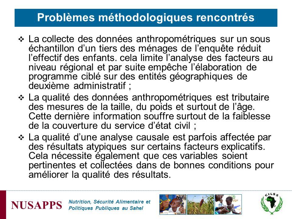 Nutrition, Sécurité Alimentaire et Politiques Publiques au Sahel NUSAPPS Problèmes méthodologiques rencontrés La collecte des données anthropométrique