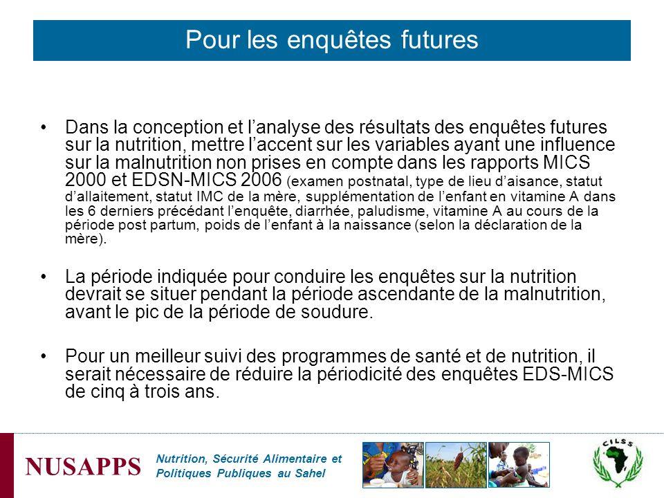 Nutrition, Sécurité Alimentaire et Politiques Publiques au Sahel NUSAPPS Dans la conception et lanalyse des résultats des enquêtes futures sur la nutr