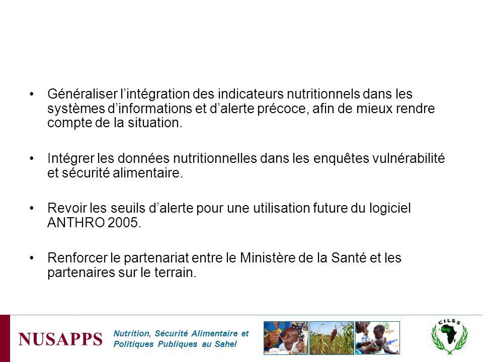 Nutrition, Sécurité Alimentaire et Politiques Publiques au Sahel NUSAPPS Généraliser lintégration des indicateurs nutritionnels dans les systèmes dinf