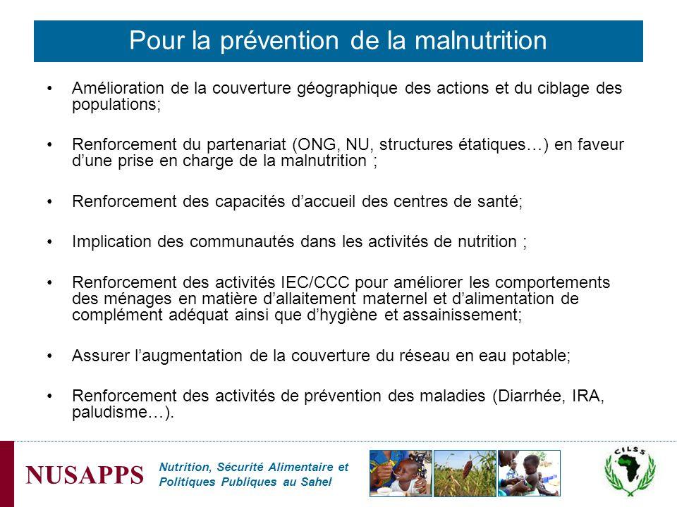 Nutrition, Sécurité Alimentaire et Politiques Publiques au Sahel NUSAPPS Amélioration de la couverture géographique des actions et du ciblage des popu
