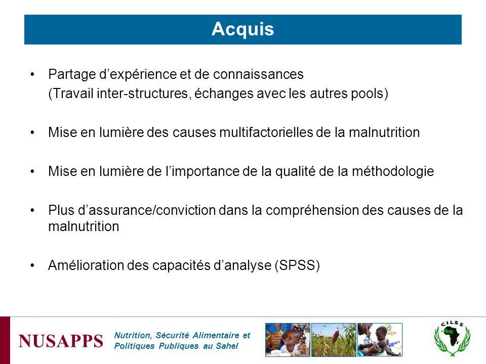 Nutrition, Sécurité Alimentaire et Politiques Publiques au Sahel NUSAPPS Acquis Partage dexpérience et de connaissances (Travail inter-structures, éch