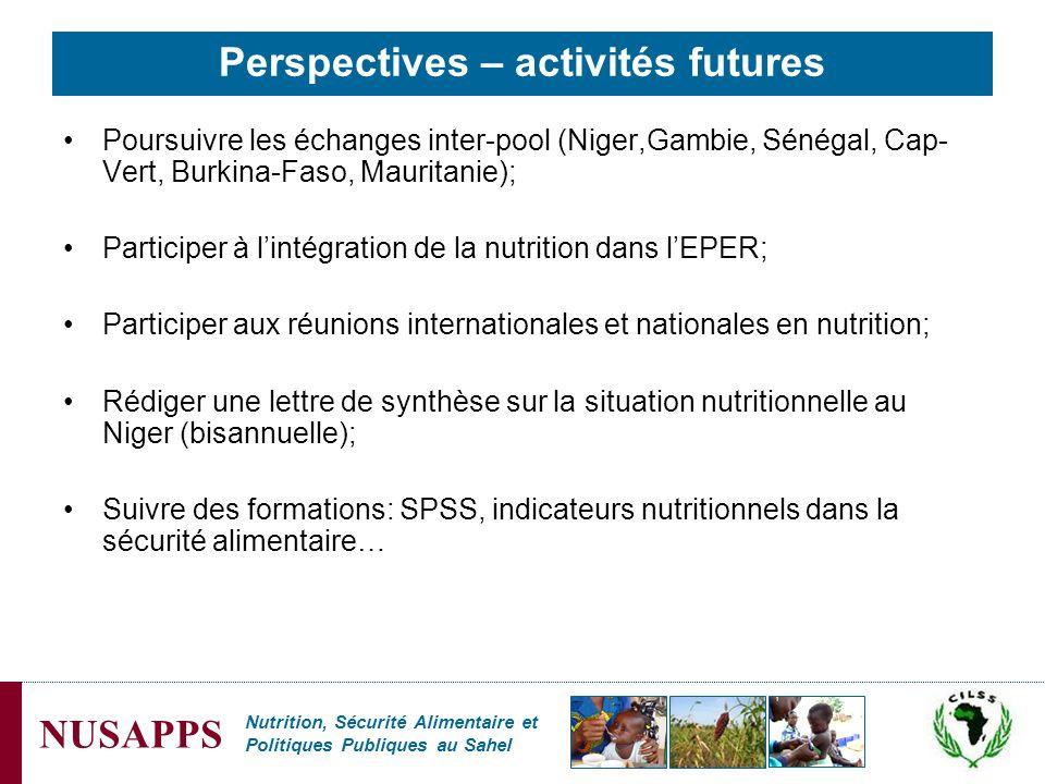 Nutrition, Sécurité Alimentaire et Politiques Publiques au Sahel NUSAPPS Perspectives – activités futures Poursuivre les échanges inter-pool (Niger,Ga