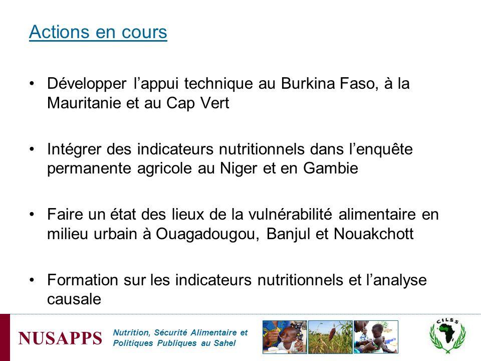 Nutrition, Sécurité Alimentaire et Politiques Publiques au Sahel NUSAPPS Actions en cours Développer lappui technique au Burkina Faso, à la Mauritanie