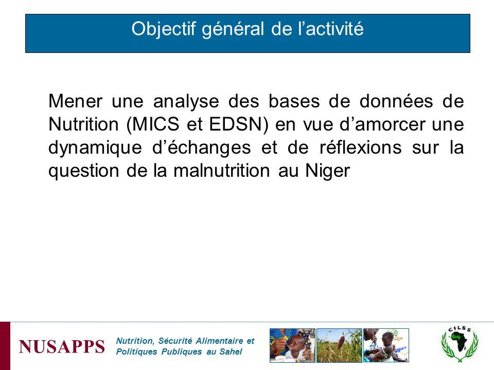 Nutrition, Sécurité Alimentaire et Politiques Publiques au Sahel NUSAPPS Objectif général de lactivité Mener une analyse des bases de données de Nutri