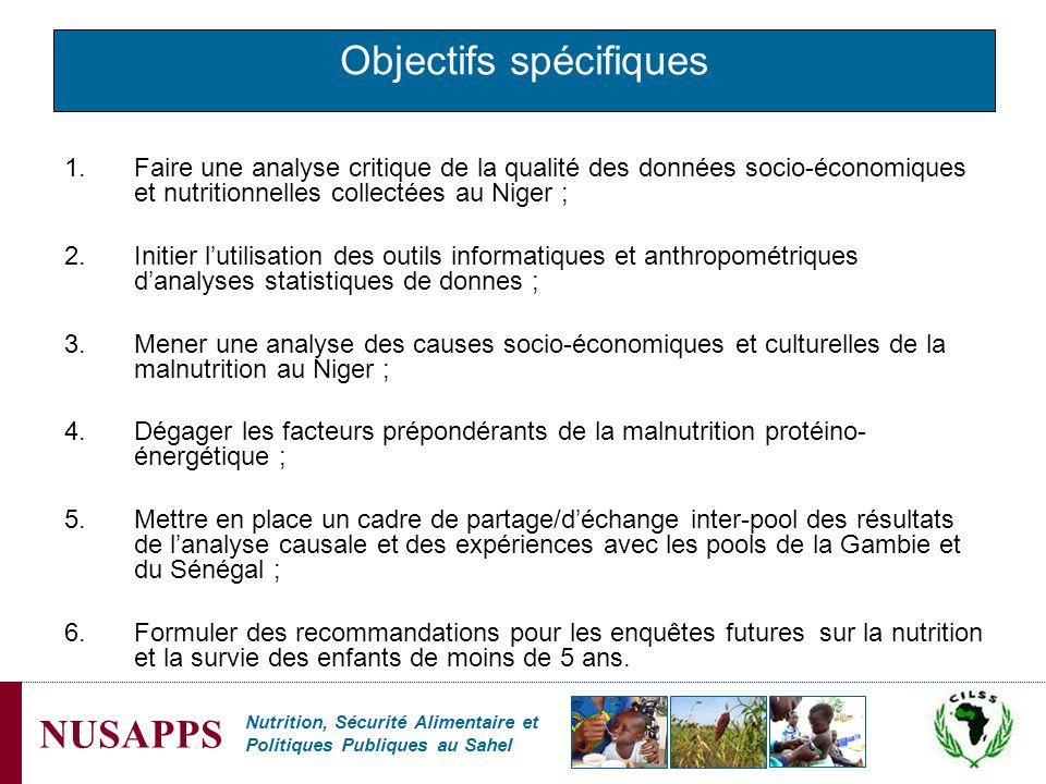 Nutrition, Sécurité Alimentaire et Politiques Publiques au Sahel NUSAPPS Objectifs spécifiques 1.Faire une analyse critique de la qualité des données