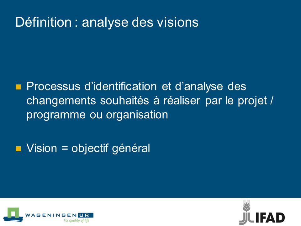 Définition : analyse des visions Processus didentification et danalyse des changements souhaités à réaliser par le projet / programme ou organisation