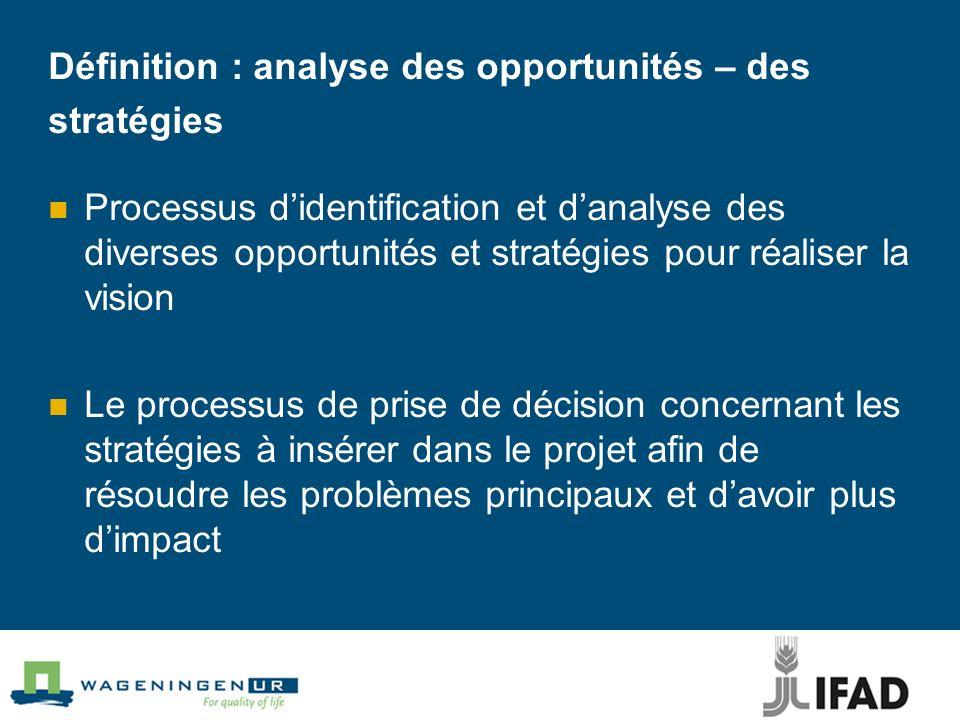 Définition : analyse des opportunités – des stratégies Processus didentification et danalyse des diverses opportunités et stratégies pour réaliser la