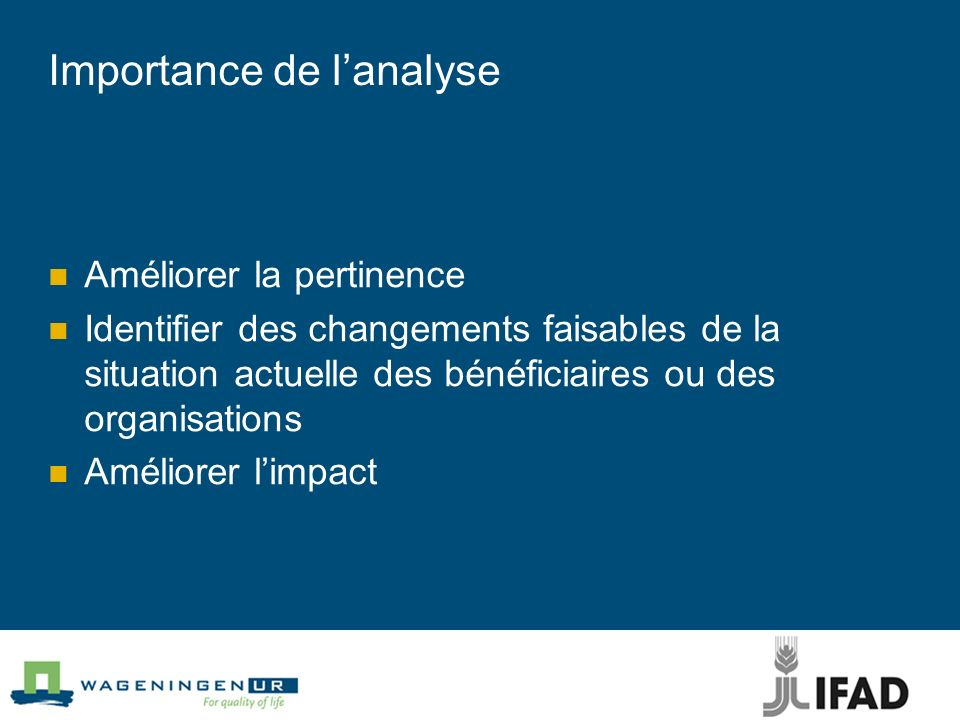 Importance de lanalyse Améliorer la pertinence Identifier des changements faisables de la situation actuelle des bénéficiaires ou des organisations Am