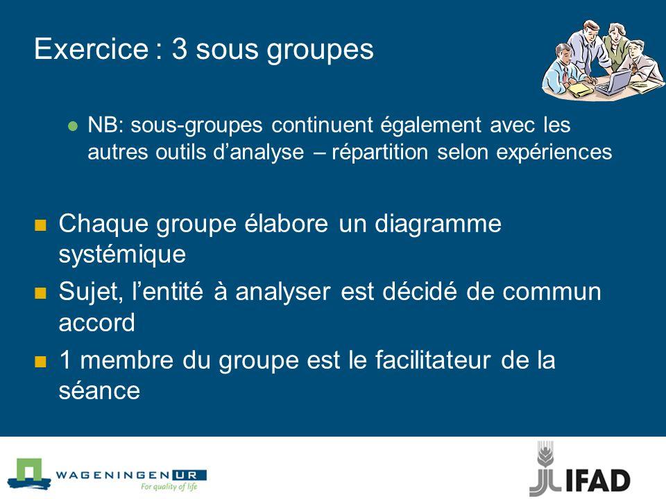 Exercice : 3 sous groupes NB: sous-groupes continuent également avec les autres outils danalyse – répartition selon expériences Chaque groupe élabore