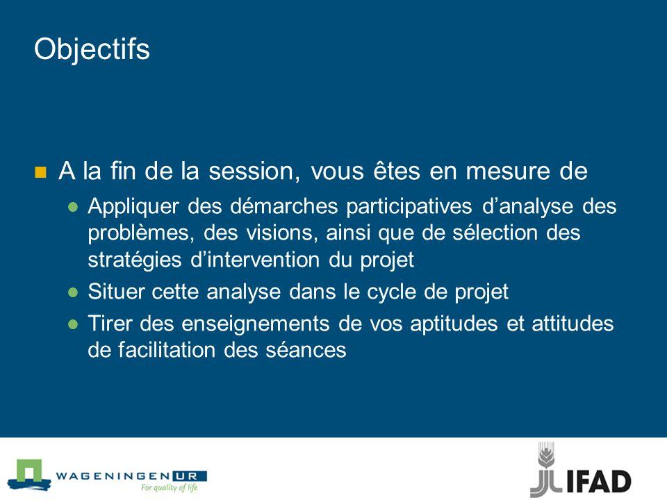 Objectifs A la fin de la session, vous êtes en mesure de Appliquer des démarches participatives danalyse des problèmes, des visions, ainsi que de séle
