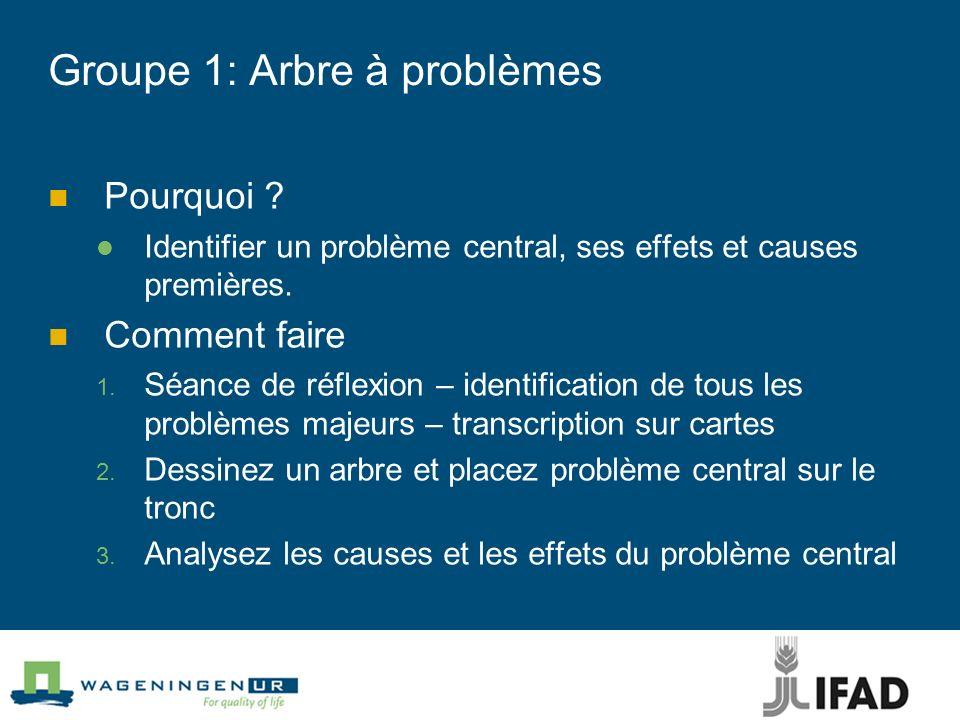 Groupe 1: Arbre à problèmes Pourquoi ? Identifier un problème central, ses effets et causes premières. Comment faire Séance de réflexion – identificat