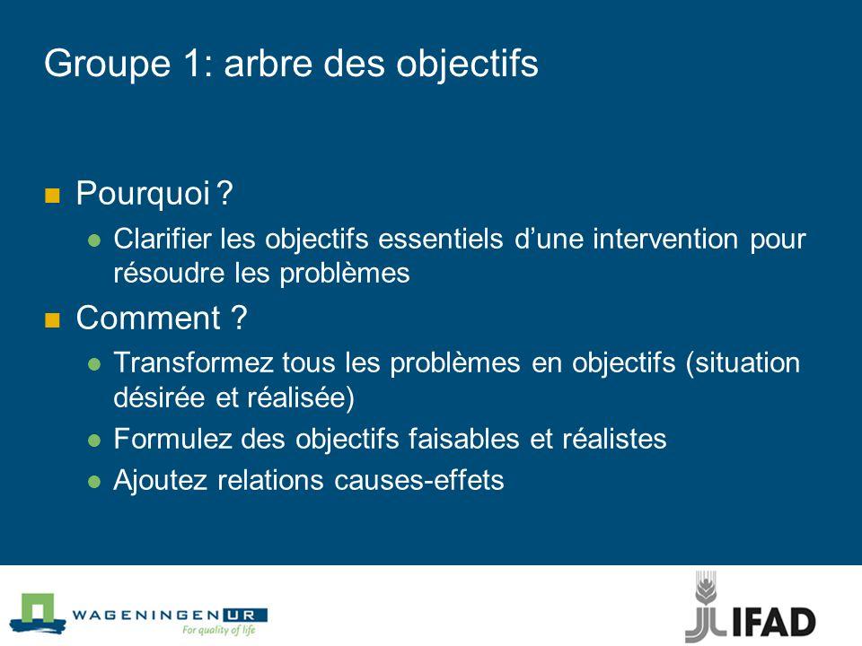 Groupe 1: arbre des objectifs Pourquoi? Clarifier les objectifs essentiels dune intervention pour résoudre les problèmes Comment ? Transformez tous le