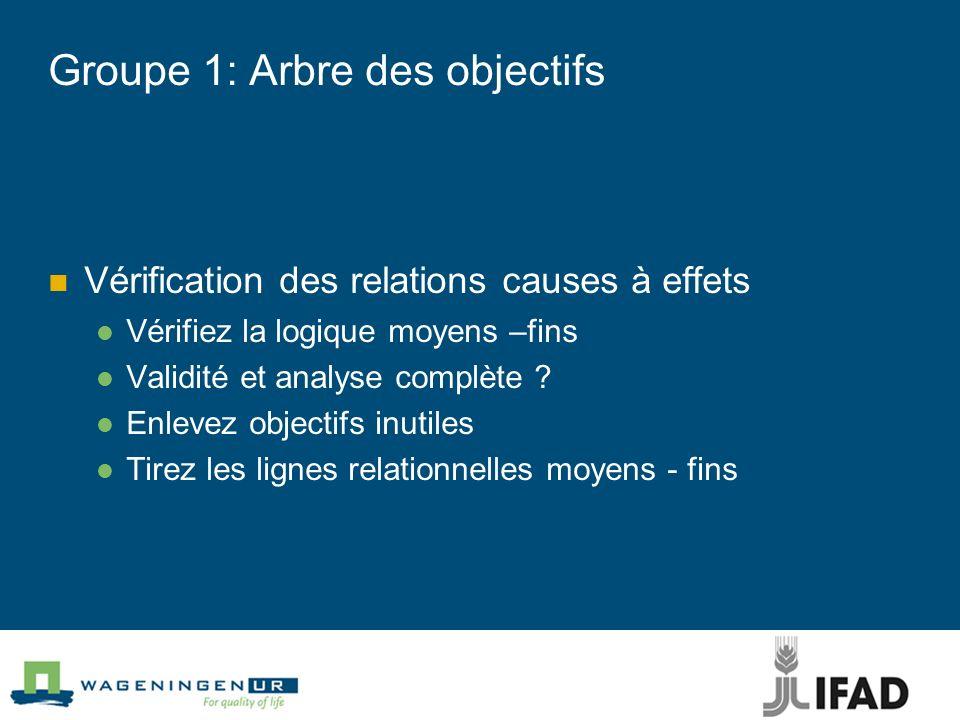 Groupe 1: Arbre des objectifs Vérification des relations causes à effets Vérifiez la logique moyens –fins Validité et analyse complète ? Enlevez objec