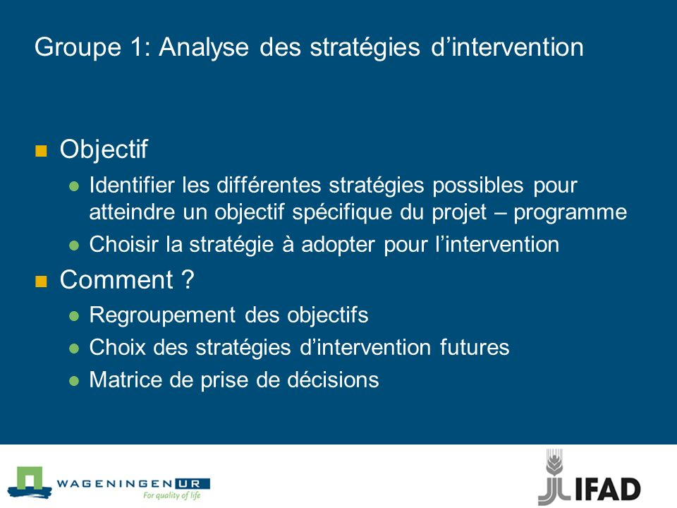 Groupe 1: Analyse des stratégies dintervention Objectif Identifier les différentes stratégies possibles pour atteindre un objectif spécifique du proje