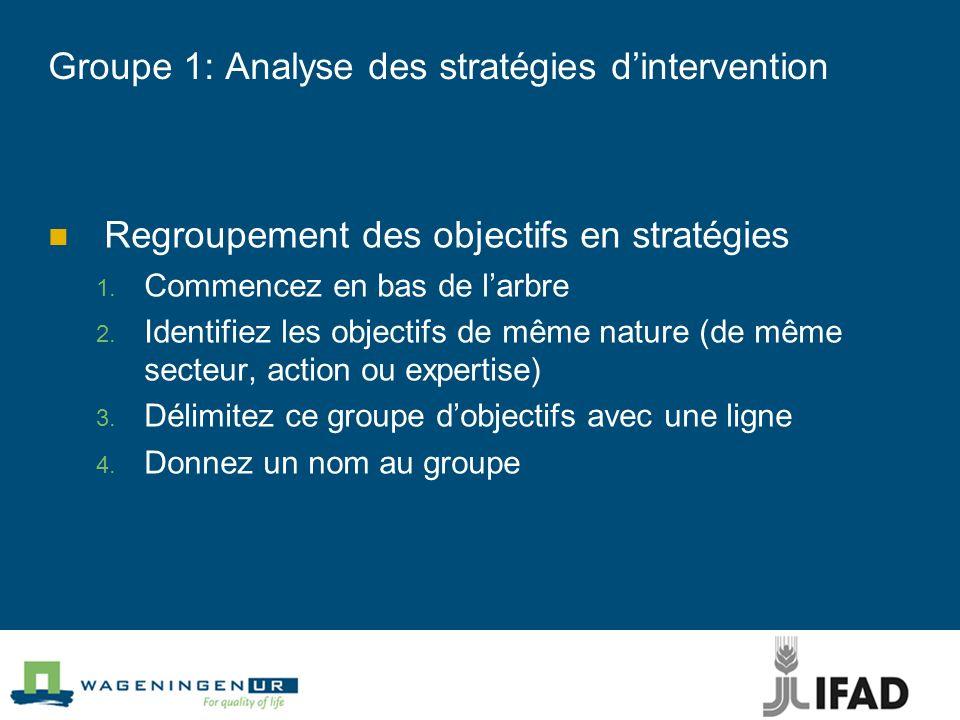 Groupe 1: Analyse des stratégies dintervention Regroupement des objectifs en stratégies Commencez en bas de larbre Identifiez les objectifs de même na