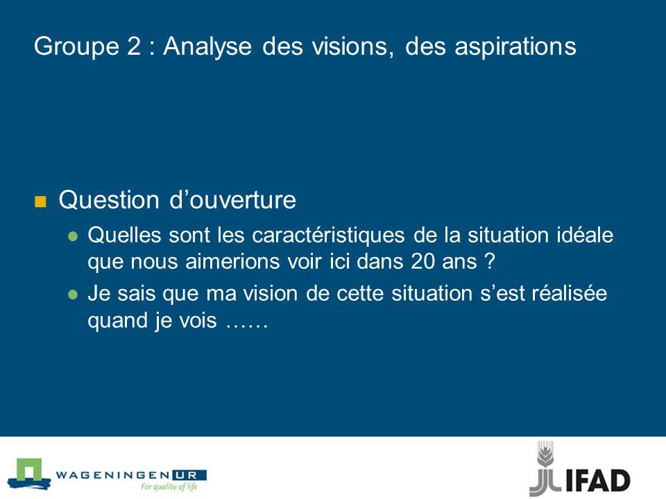 Groupe 2 : Analyse des visions, des aspirations Question douverture Quelles sont les caractéristiques de la situation idéale que nous aimerions voir i