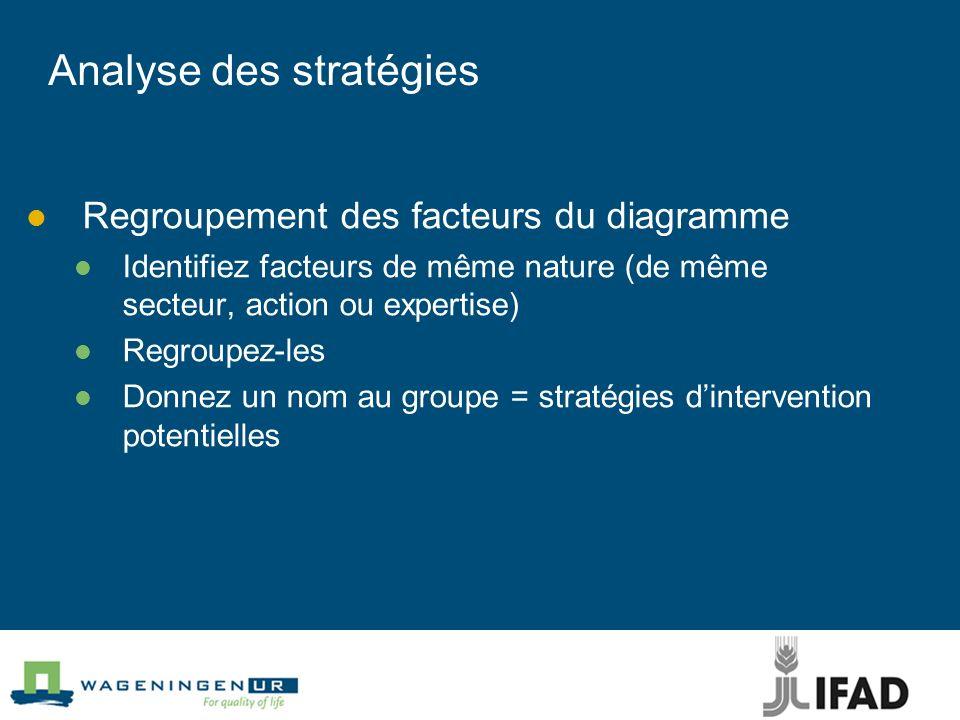 Analyse des stratégies Regroupement des facteurs du diagramme Identifiez facteurs de même nature (de même secteur, action ou expertise) Regroupez-les