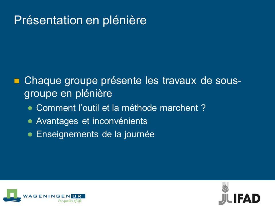 Présentation en plénière Chaque groupe présente les travaux de sous- groupe en plénière Comment loutil et la méthode marchent ? Avantages et inconvéni