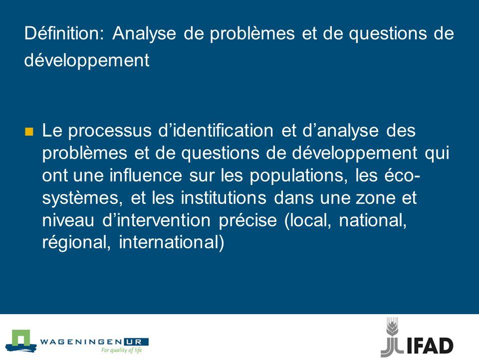 Définition: Analyse de problèmes et de questions de développement Le processus didentification et danalyse des problèmes et de questions de développem