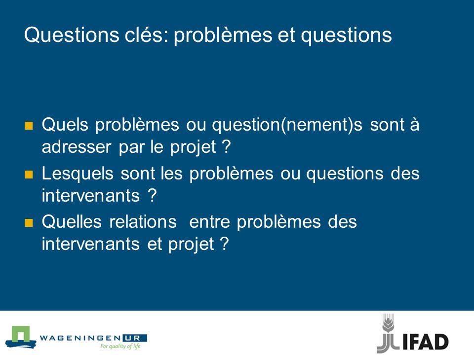 Questions clés: problèmes et questions Quels problèmes ou question(nement)s sont à adresser par le projet ? Lesquels sont les problèmes ou questions d