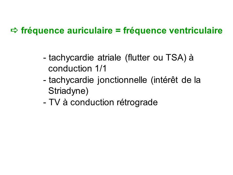 fréquence auriculaire = fréquence ventriculaire - tachycardie atriale (flutter ou TSA) à conduction 1/1 - tachycardie jonctionnelle (intérêt de la Striadyne) - TV à conduction rétrograde