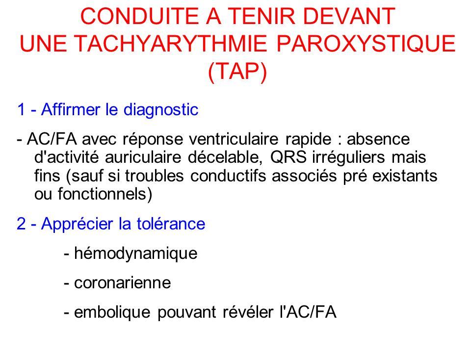 CONDUITE A TENIR DEVANT UNE TACHYARYTHMIE PAROXYSTIQUE (TAP) 1 - Affirmer le diagnostic - AC/FA avec réponse ventriculaire rapide : absence d activité auriculaire décelable, QRS irréguliers mais fins (sauf si troubles conductifs associés pré existants ou fonctionnels) 2 - Apprécier la tolérance - hémodynamique - coronarienne - embolique pouvant révéler l AC/FA