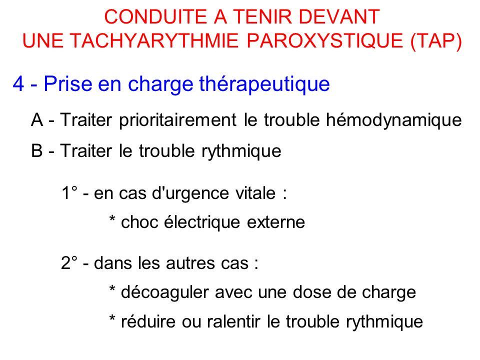 CONDUITE A TENIR DEVANT UNE TACHYARYTHMIE PAROXYSTIQUE (TAP) 4 - Prise en charge thérapeutique A - Traiter prioritairement le trouble hémodynamique B - Traiter le trouble rythmique 1° - en cas d urgence vitale : * choc électrique externe 2° - dans les autres cas : * décoaguler avec une dose de charge * réduire ou ralentir le trouble rythmique